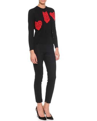 Lace Heart Applique Cardigan, Sweater & High-Waist Stretch-Wool Pants