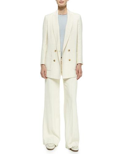 Double-Breasted Boyfriend Blazer, Cashmere Short-Sleeve Sweater & Wide-Leg Flat-Front Pants
