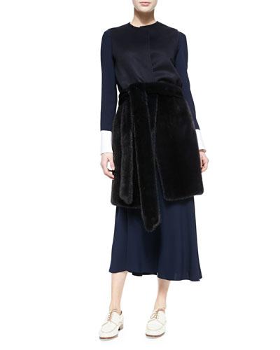THE ROW Peekaboo-Cuffed Blouse, Long Bias-Cut Skirt & Long Mink Vest with Fur Belt