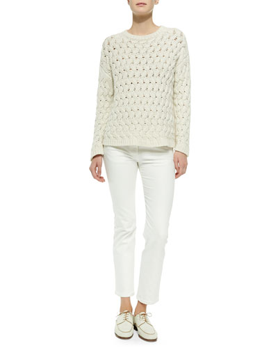 THE ROW Wavy-Cable-Knit Sweater & Classic Stretch-Denim Jeans