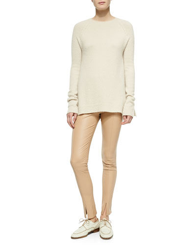 THE ROW Cashmere/Silk A-Line Sweater & Slit-Cuff Leather Leggings