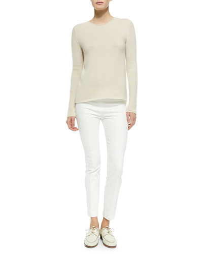 THE ROW Cashmere/Silk Ribbed Pullover Sweater & Stretch-Denim Leggings