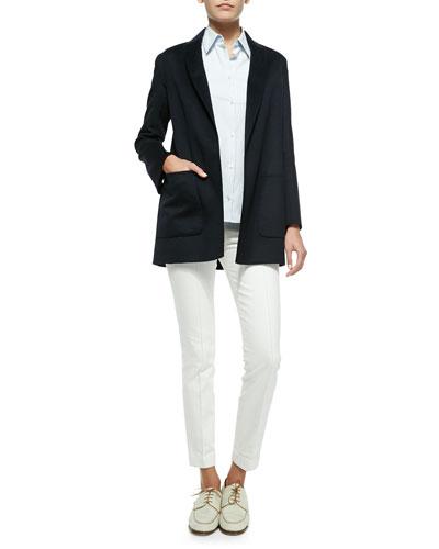 THE ROW Oversize Wool Boyfriend Blazer, Stretch-Cotton Button-Front Blouse & Stretch-Denim Leggings