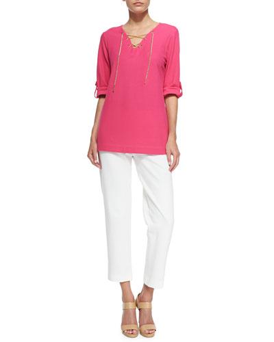 Cotton Pique Lace-Up Tunic & Ponte Slim Ankle Pants, Petite