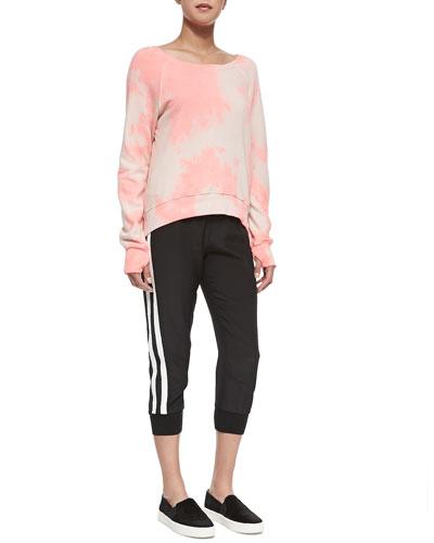 Annie Tie-Dye Sweatshirt & Cropped Sweatpants W/ Perforated Stripes