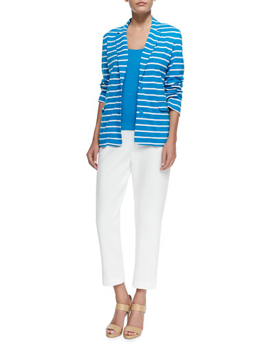Striped Knit Jacket, Cotton Rib Tank & Ponte Slim Ankle Pants, Women's