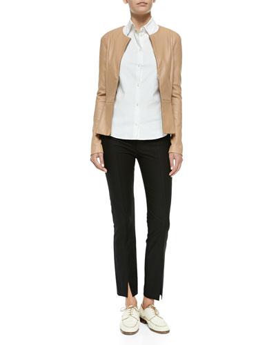 THE ROW Front-Zip Leather Peplum Jacket, Stretch-Cotton Button-Front Blouse & Stretch-Cotton Slit-Cuff Leggings