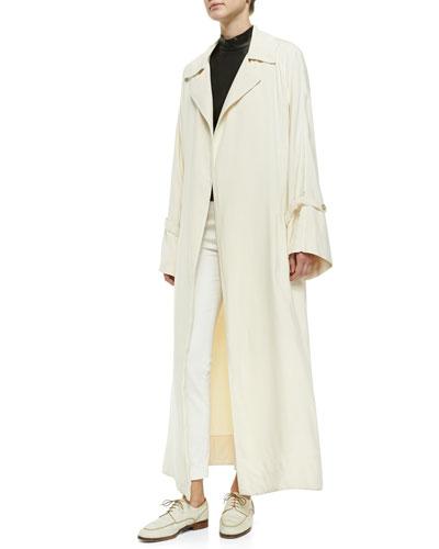 THE ROW Long Bell-Sleeve Opera Coat, Sleeveless Mock-Neck Leather Top & Stretch-Denim Leggings