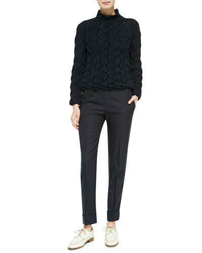 THE ROW Long-Sleeve Chunky Cable-Knit Sweater & Large-Cuff Wool-Blend Skinny Pants