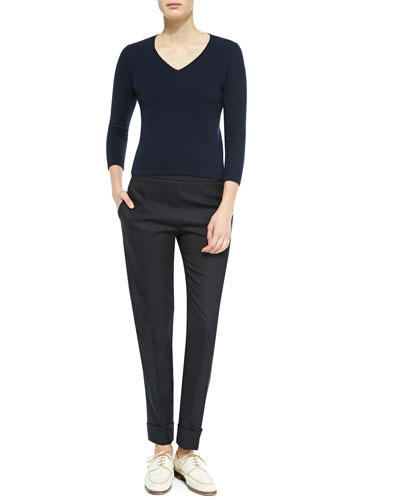 THE ROW Wool/Cashmere Fitted V-Neck Sweater & Large-Cuff Wool-Blend Skinny Pants