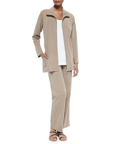 Long Knit Zip Jacket, Cotton Interlock Tank & Full-Length Jog Pants, Women's