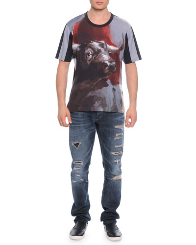 Bull-Print Short-Sleeve Tee & Destroyed Denim Jeans