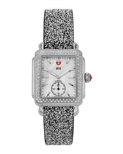 MICHELE Deco 16 Stainless Diamond-Bezel Watch Head & 16mm Crystal Watch Strap