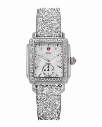 MICHELE Deco 16 Stainless Diamond-Bezel Watch Head & 16mm Crystal-Covered Leather Strap