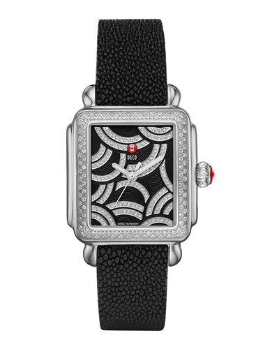 MICHELE Art of Deco Diamond Watch Head & 18mm Stingray Watch Strap