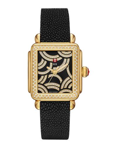 MICHELE Art of Deco Diamond Gold-Plate Watch Head & 18mm Stingray Watch Strap