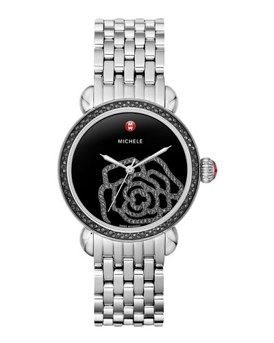 MICHELE CSX Jardin Noir Diamond-Dial Watch Head & 18mm CSX Bracelet Strap