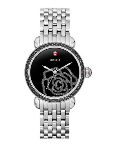 MICHELE CSX Jardin Noir Diamond-Dial Watch Head & 18mm CSX Bracelet Strap