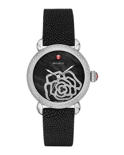 MICHELE CSX Jardin Diamond-Dial Watch Head & 18mm Stingray Strap