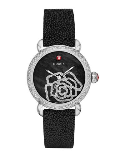 MICHELE CSX Jardin Diamond-Dial Watch Head & 18mm Stingray Strap