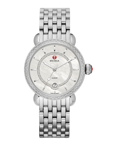 MICHELE CSX-36 Elegance Diamond Watch Head with Inner Track Dial & Bracelet Strap