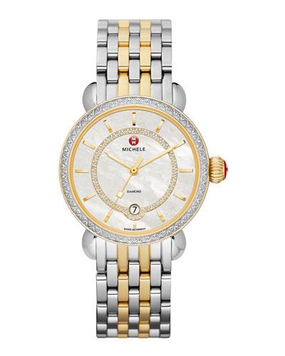 MICHELE CSX-36 Elegance Diamond Watch Head with Inner Track Dial & Two-Tone Bracelet Strap