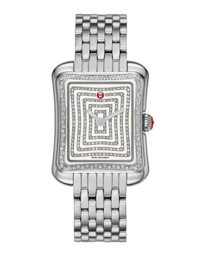 MICHELE Deco Moderne II Stainless Diamond Watch Head & 16mm Bracelet