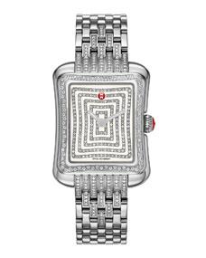 Michele Deco Moderne Ii Stainless Diamond Watch Head 16mm Diamond Bracelet