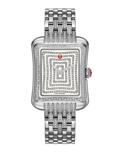 MICHELE Deco Moderne II Stainless Diamond Watch Head & 16mm Diamond Bracelet