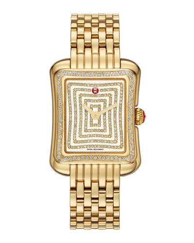 MICHELE Deco Moderne II Gold Plate Diamond Watch Head & 16mm Gold Bracelet