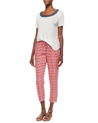 Natural Embroidered Tee & Tempe Crimson Print Cropped Pants