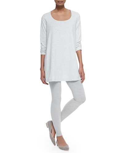 Scoop-Neck Long-Sleeve Tunic & Stretch-Jersey Leggings, Petite