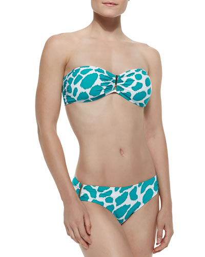 Ikat-Print Cinched Bandeau Top & Cinch-Side Swim Bottom