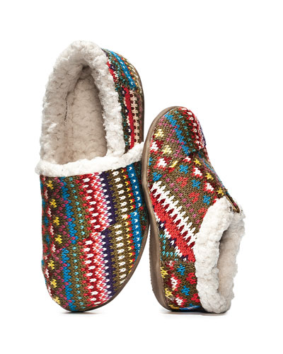 TOMS Shoes Kids' Knit Sherpa-Lined Slippers