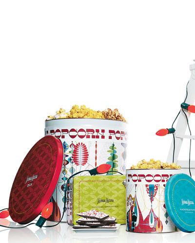 NM EXCLUSIVE Popcorn Tin, Peppermint Bark, & Almond-Pecan Popcorn