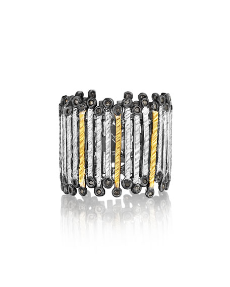 COOMI Spring Tricolor Gold & Silver Band Ring,