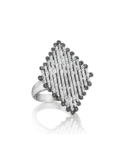 COOMI Spring Silver Diamond-Shaped Ring