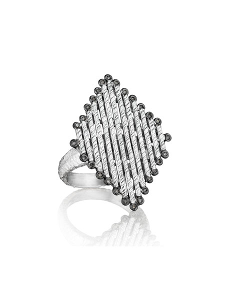 COOMI Spring Silver Diamond-Shaped Ring, Sz 6