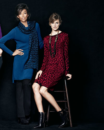 Magaschoni Dress & Scarf and Carmen by Carmen Marc Valvo Animal Jacquard Dress