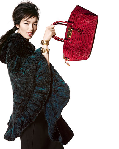 Mink Fur Cape & Brera 32 Crocodile Satchel Bag