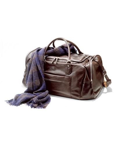 Brunello Cucinelli Cashmere Scarf & Leather Gym Bag