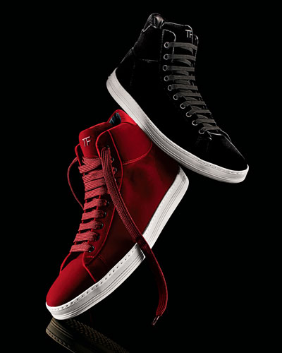Tom Ford Russel Velvet High-Top Sneaker