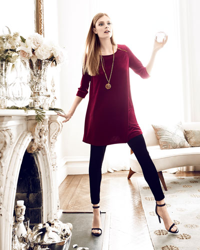 Joan Vass Velour Long Tunic & Cropped Leggings