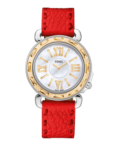 Selleria 18k Gold Plate Watch Head & Leather Strap