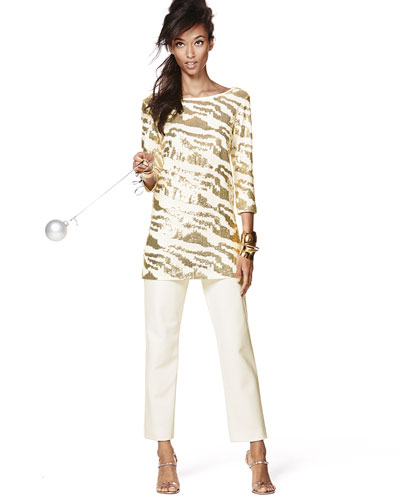 Sequined Animal Tunic & Ponte Slim Ankle Pants
