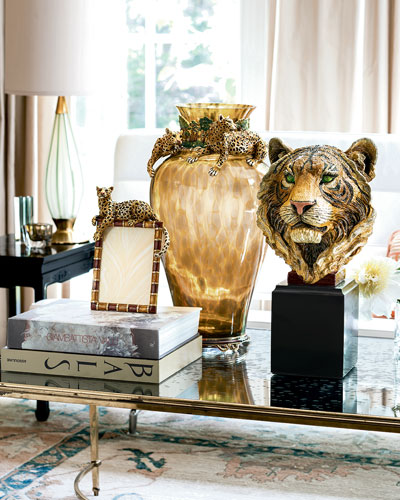 Jay Strongwater Leopard Frame, Leopard Vase, & Tiger Head Objet