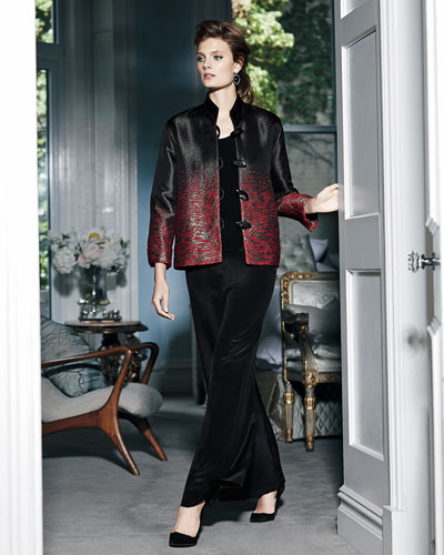 Caroline Rose Jacquard Jacket, Tank, & Wide-Leg Pants