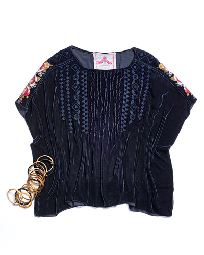 Johnny Was Collection Velvet Pintucked Embroidered Poncho