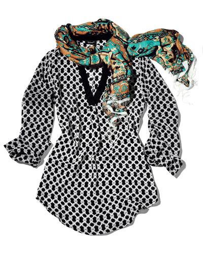 Tolani Printed Silk Tunic & Scarf