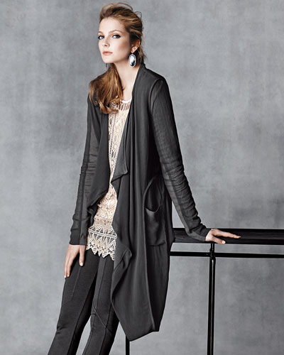 XCVI Draped Jacket, Lace Tunic, & Leggings